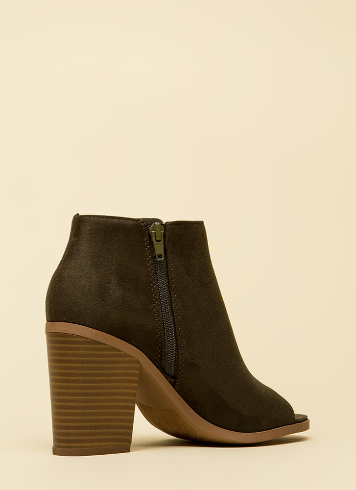 Laced With Style Chunky Peep-Toe Booties KHAKI