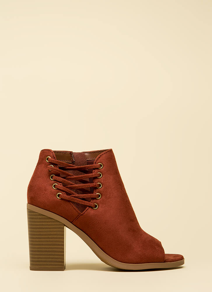Laced In Style Chunky Peep-Toe Booties DKRUST
