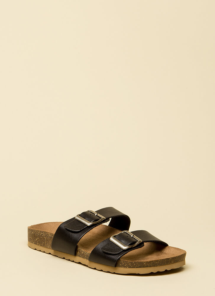 Granola Girl Buckled Slide Sandals BLACK