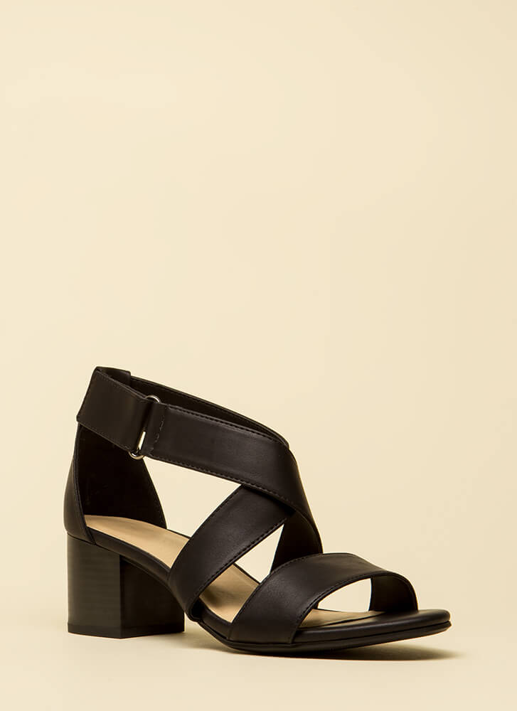 Handled Strappy Faux Leather Block Heels BLACK