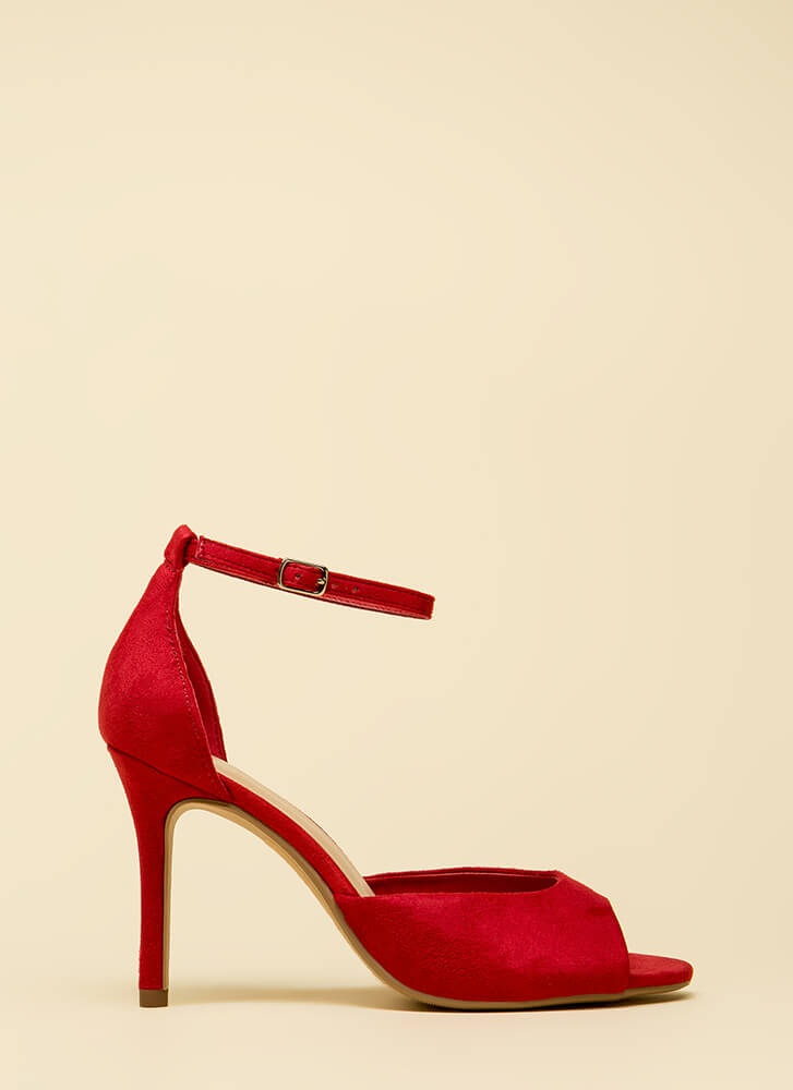 A Classic Faux Suede Peep-Toe Heels BRIGHTRED (You Saved $16)