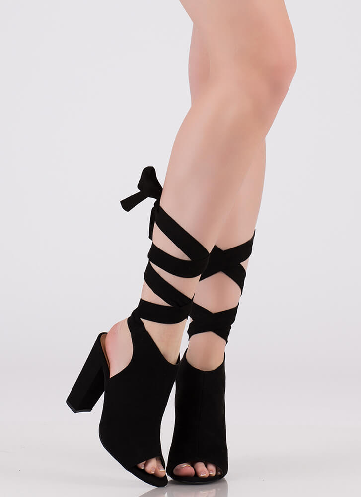 Show-Off Lace-Up Peep-Toe Heels BLACK