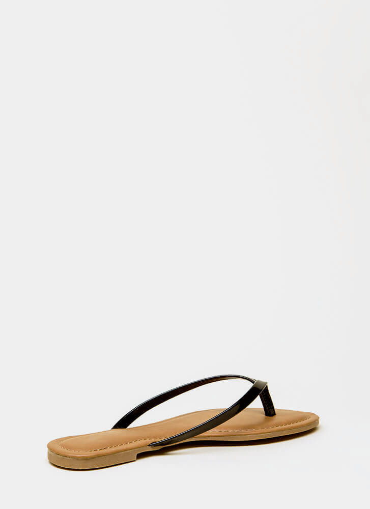 Beach Day Faux Patent Thong Sandals BLACK