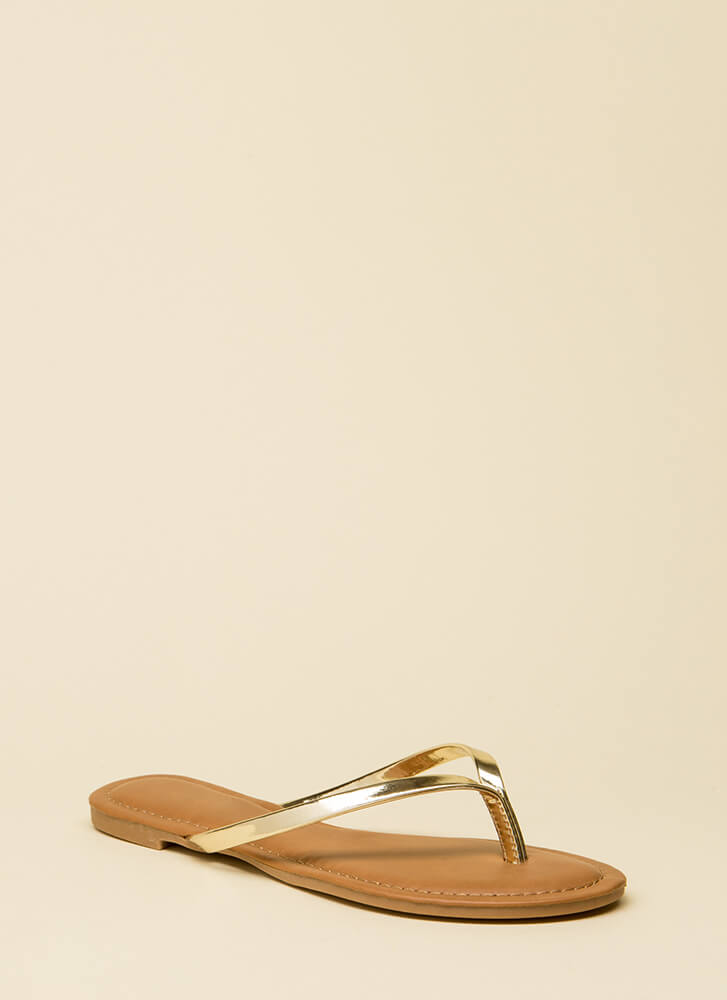 Beach Day Faux Patent Thong Sandals GOLD