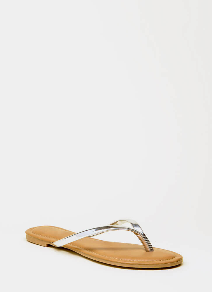 Beach Day Faux Patent Thong Sandals SILVER