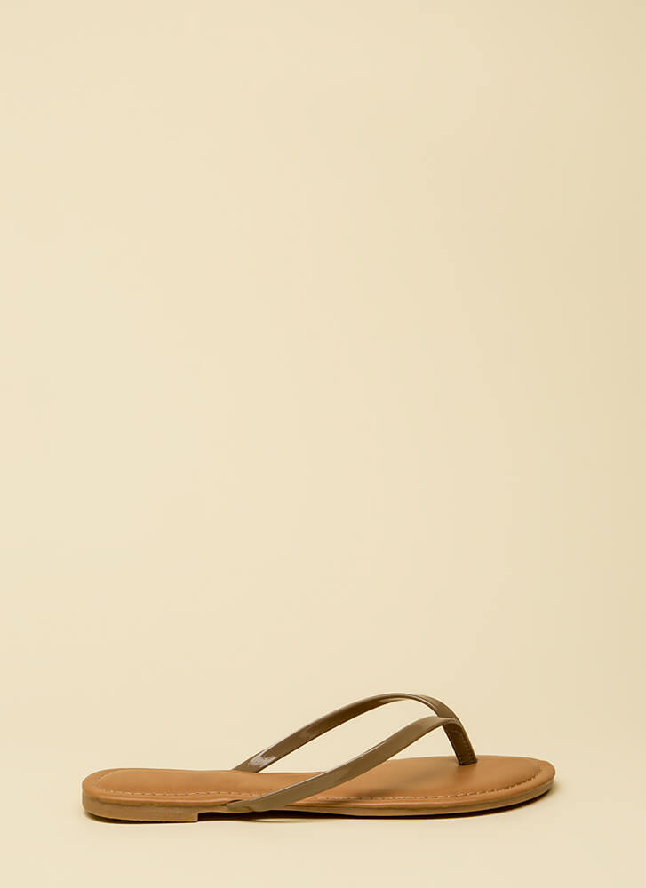 Beach Day Faux Patent Thong Sandals TAUPE