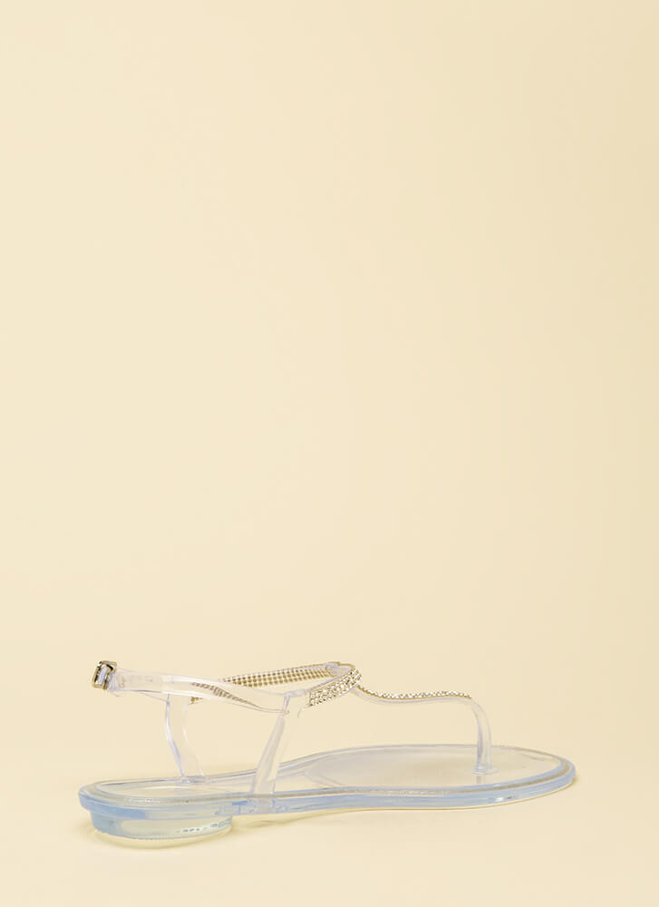 Adulthood Jeweled Jelly T-Strap Sandals CLEAR