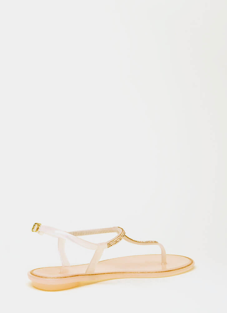 Adulthood Jeweled Jelly T-Strap Sandals NUDE