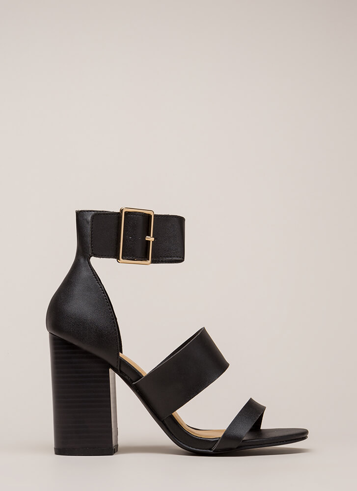 Step Right Up Chunky Strappy Heels BLACK