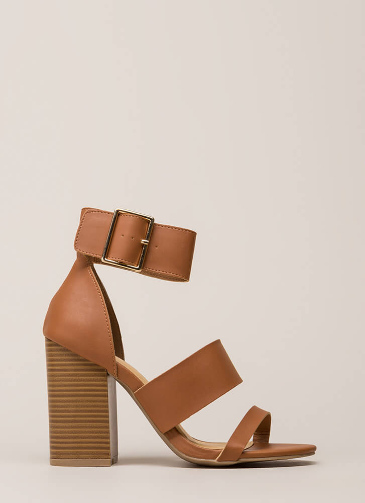 Step Right Up Chunky Strappy Heels COGNAC