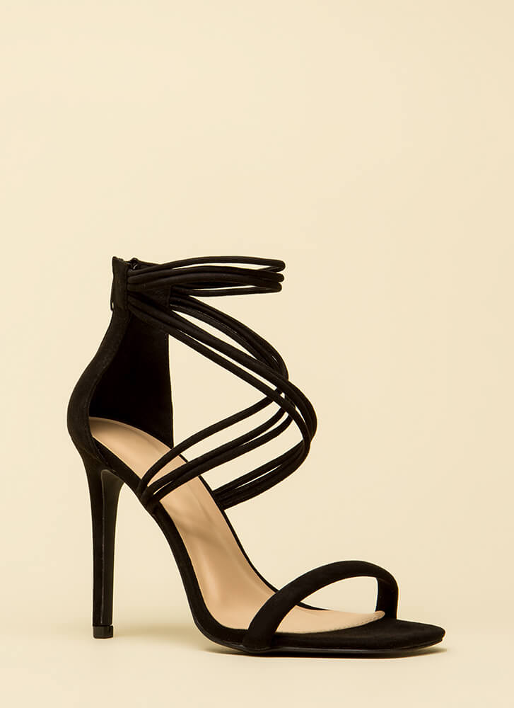 Cord Strength Strappy Faux Suede Heels BLACK