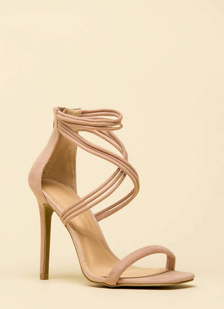 Cord Strength Strappy Faux Suede Heels NUDE