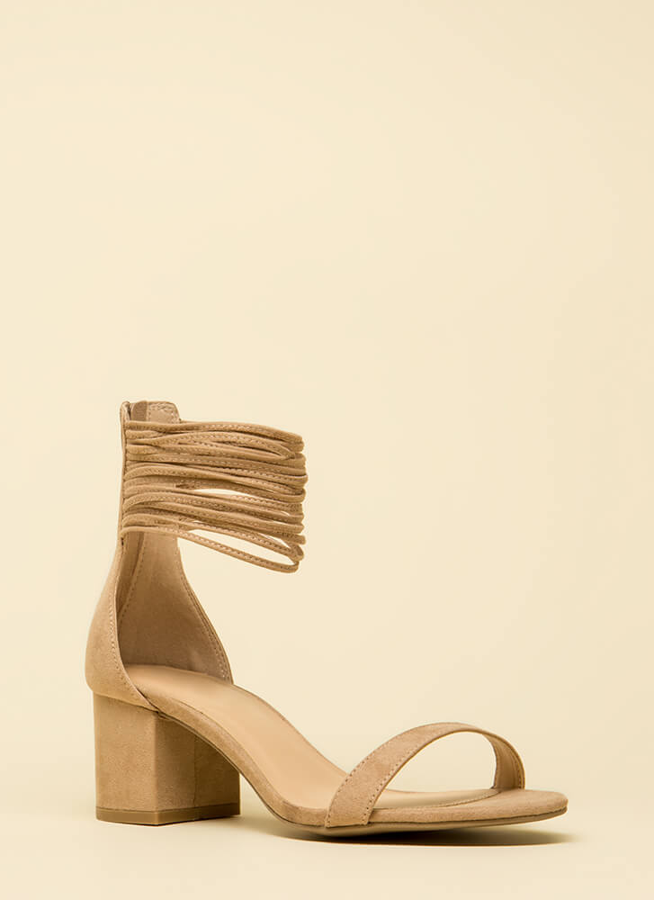 Power Cords Strappy Block Heels TAUPE
