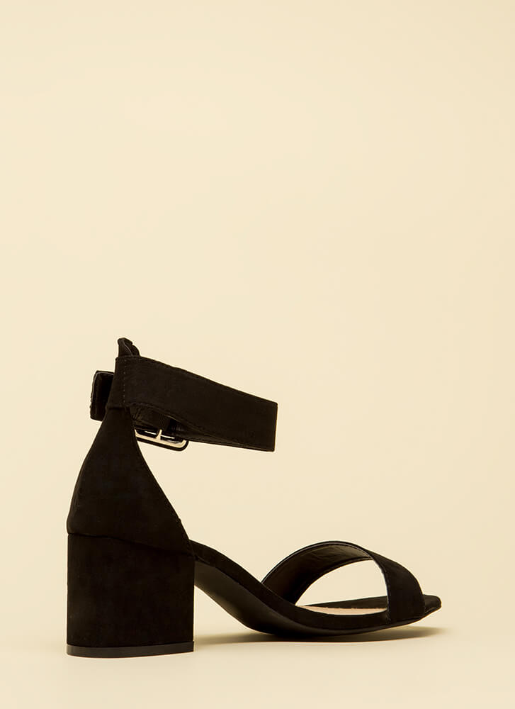 Style Points Faux Suede Block Heels BLACK