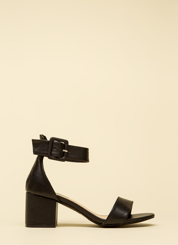 Style Points Faux Leather Block Heels BLACK