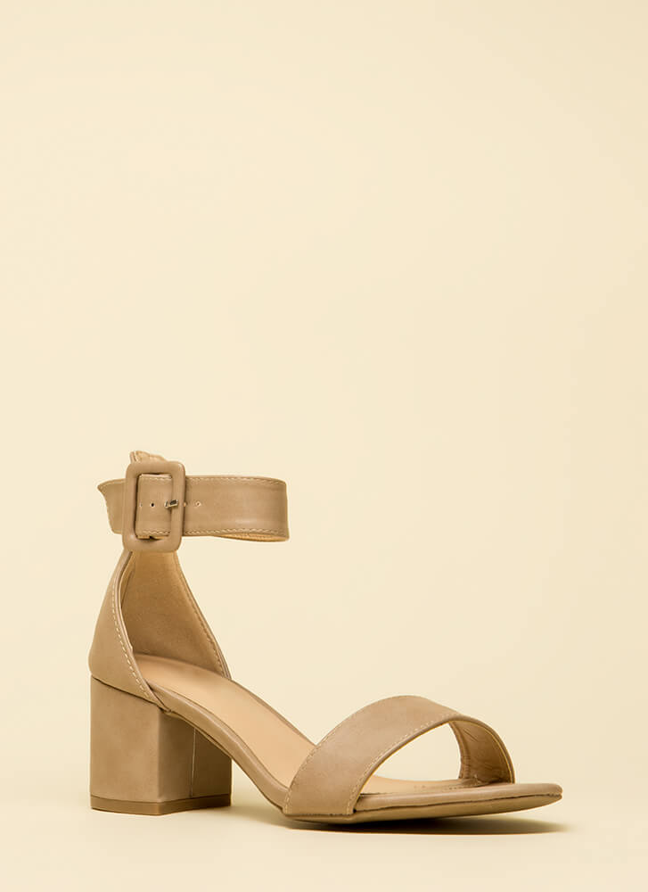 Style Points Faux Leather Block Heels NATURAL