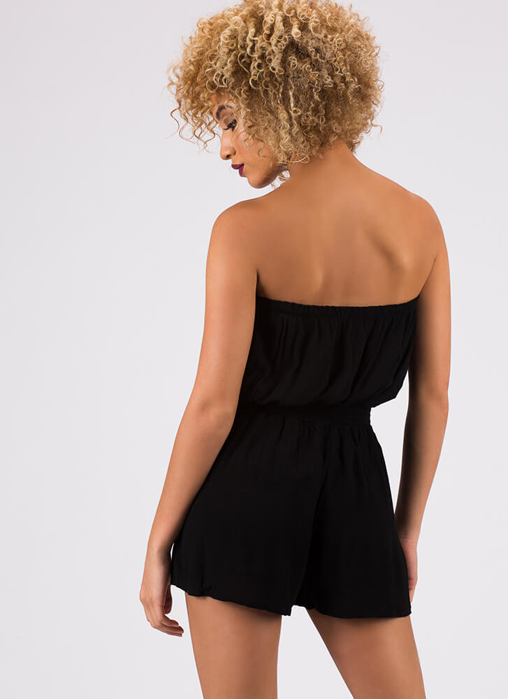 Sliding Into My Strapless Romper BLACK