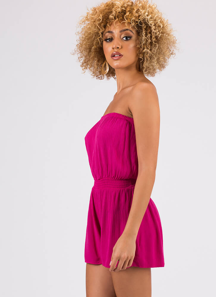 Sliding Into My Strapless Romper FUCHSIA