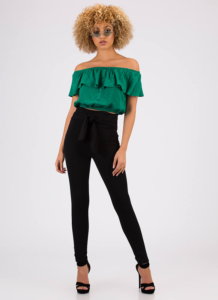 Gettin' Frilly Ruffled Off-Shoulder Top KELLYGREEN