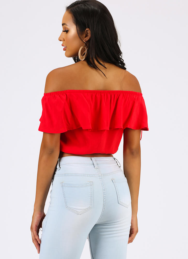 Gettin' Frilly Ruffled Off-Shoulder Top POPPY