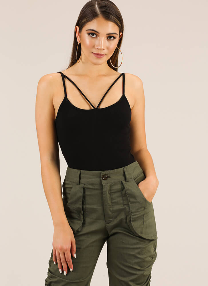 Strappy To Be Alive Rib Knit Tank Top BLACK