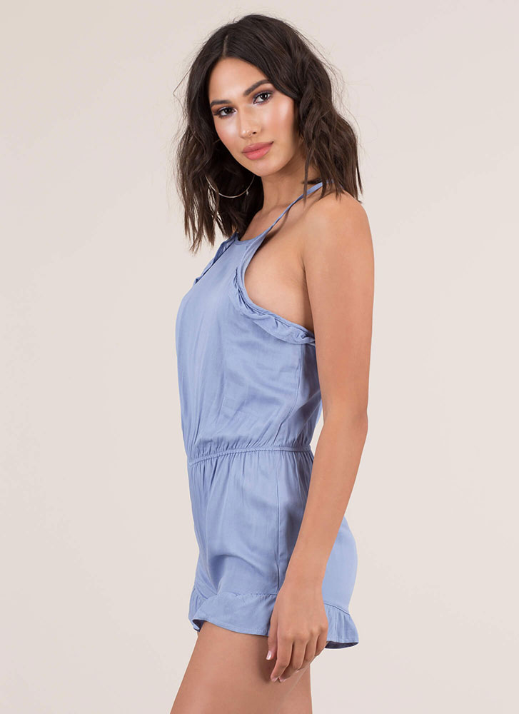 Can You Frill The Love Ruffled Romper CHAMBRAY