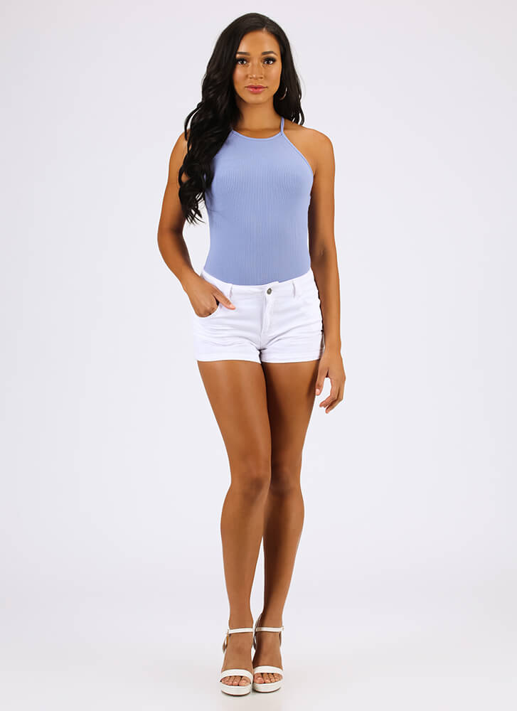 These Are The Days Rib Knit Bodysuit CHAMBRAY