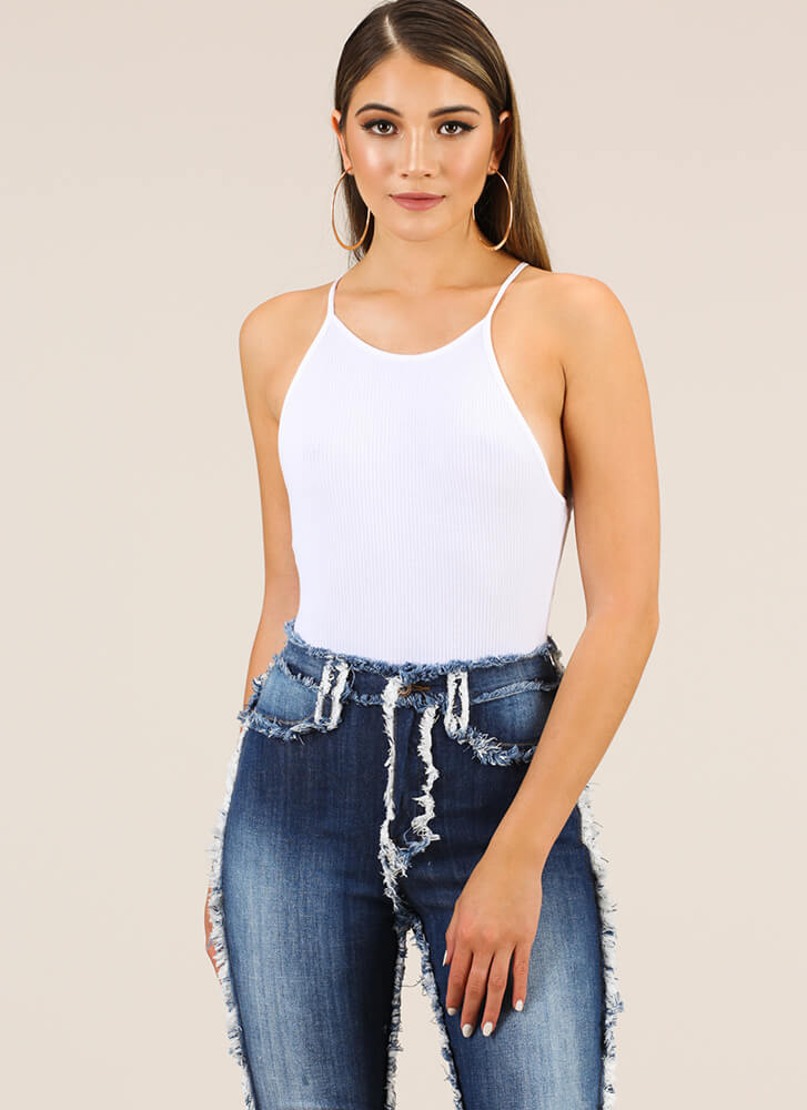 These Are The Days Rib Knit Bodysuit WHITE