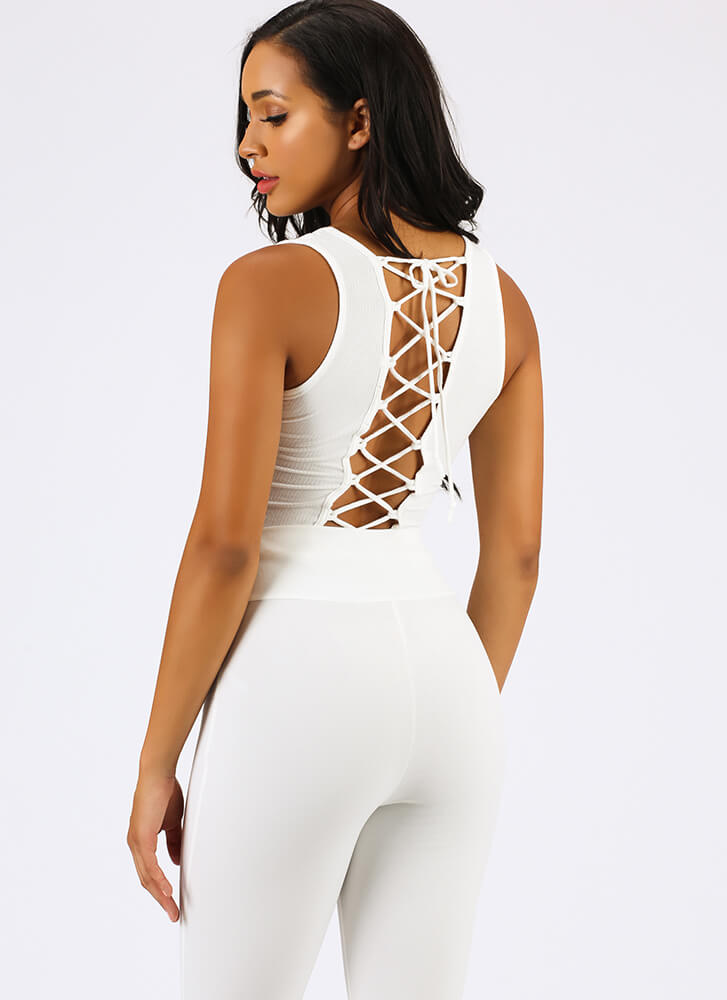 It's Your Turn Lace-Back Tank Top WHITE