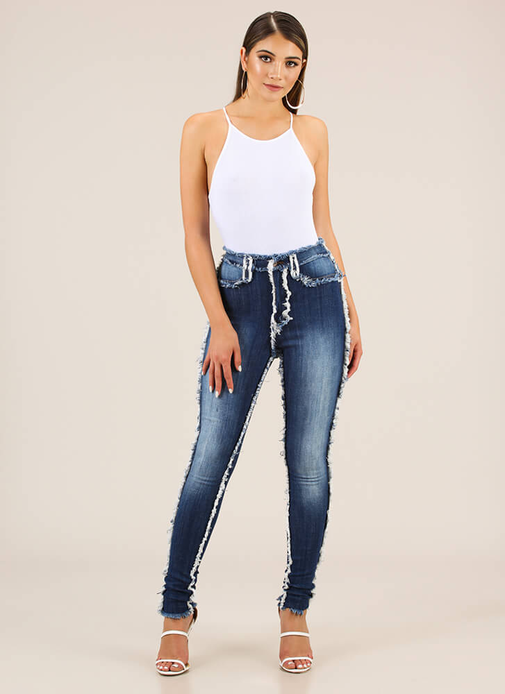 Seams Too Good To Be True Fringed Jeans BLUE
