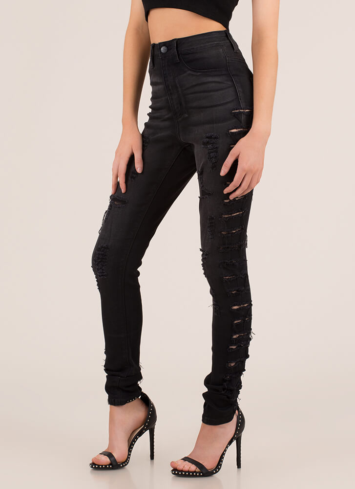 Slits Up To You Destroyed Skinny Jeans BLACK