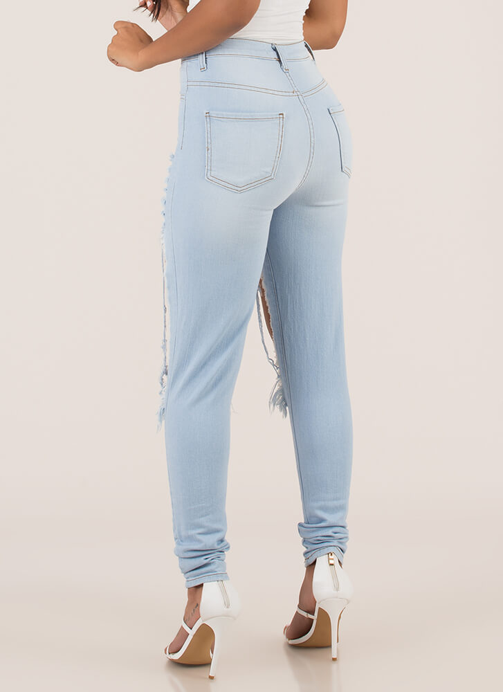 Show Leg Destroyed High-Waisted Jeans LTBLUE