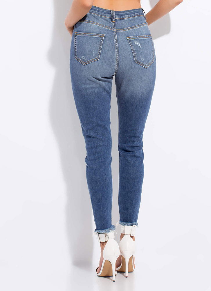 Feeling Distressed Denim Skinny Jeans BLUE