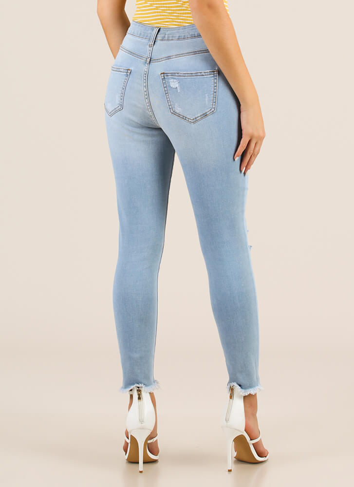 Feeling Distressed Denim Skinny Jeans LTBLUE