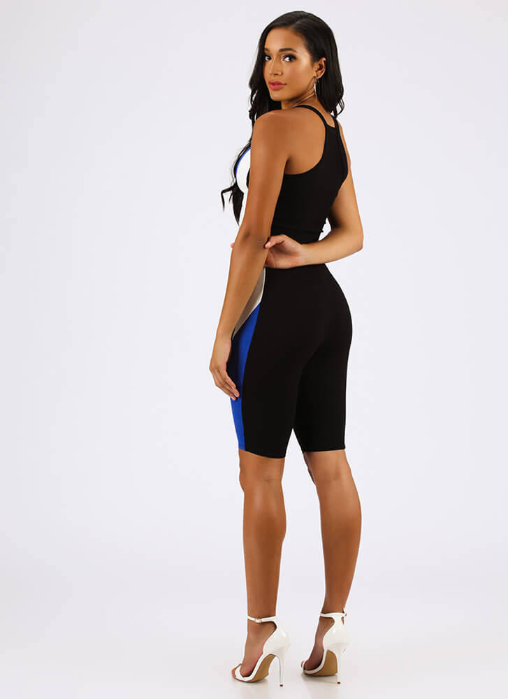 Something Sporty Top And Shorts Set BLACKROYAL