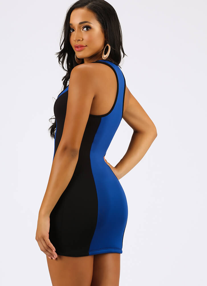 Dive In Colorblock Zip-Front Minidress BLACKROYAL