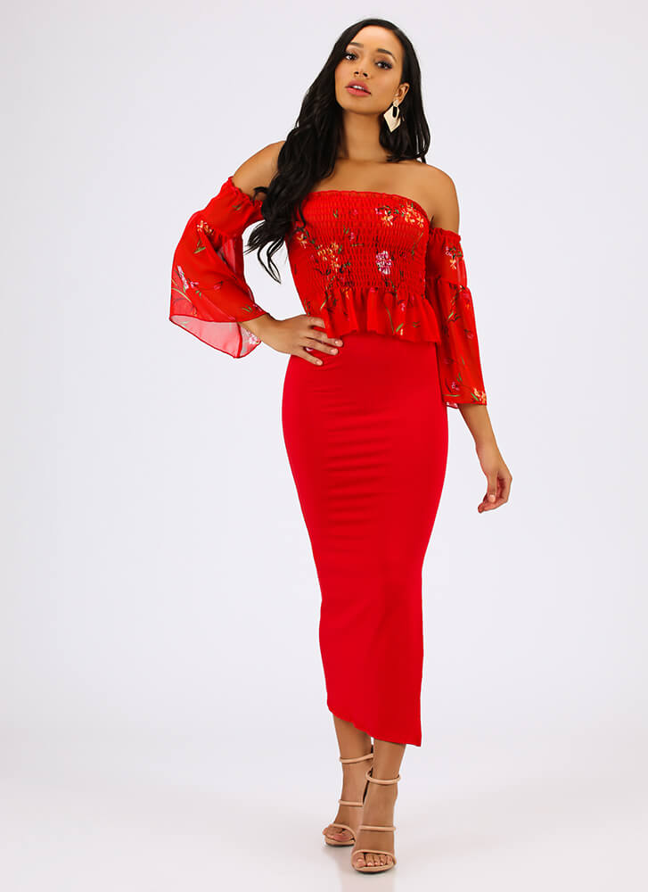 Blooming Beauty Floral Off-Shoulder Top RED
