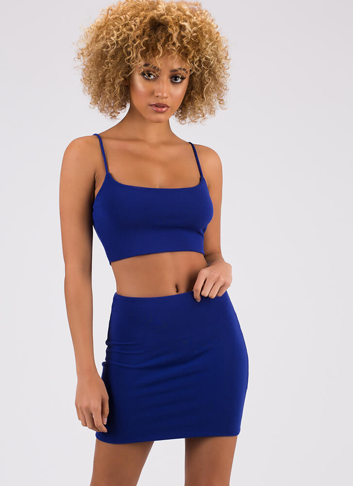 One-Two Punch Crop Top And Miniskirt Set ROYAL