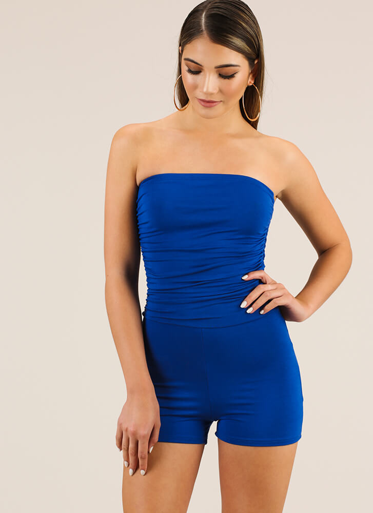 Simple Solution Strapless Ruched Romper ROYAL