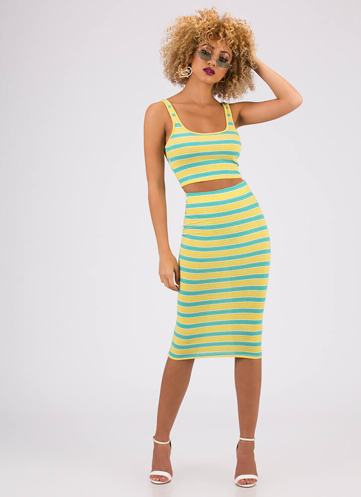 Fun And Games Striped Top And Skirt Set GREEN