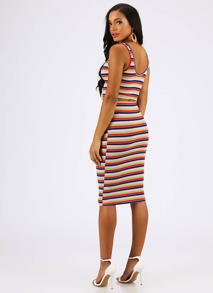 Fun And Games Striped Top And Skirt Set MULTI