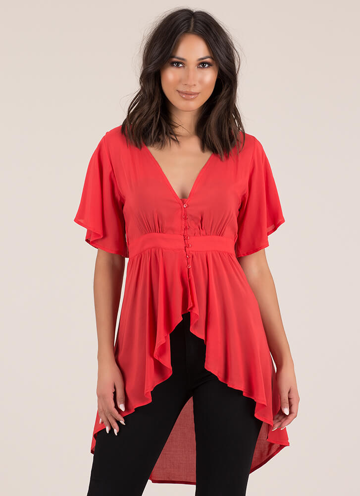 Perfect Weekend Flared High-Low Top RED