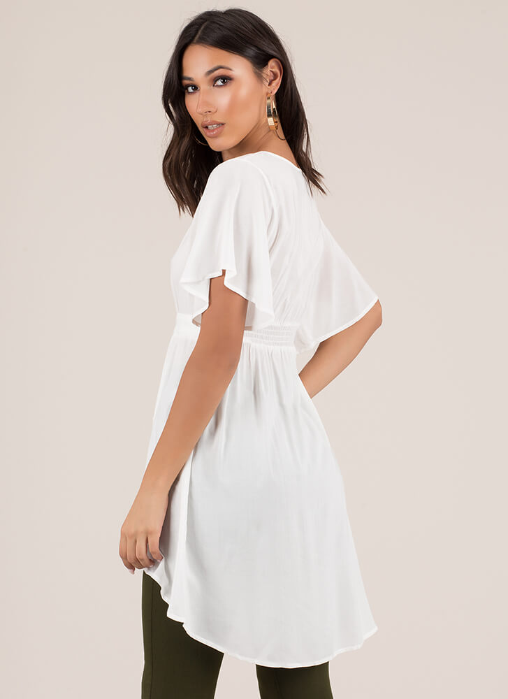 Perfect Weekend Flared High-Low Top WHITE