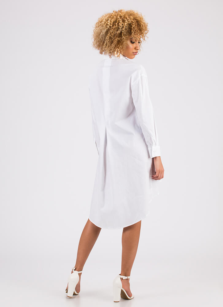 Flare For Menswear Button-Up Shirt Dress WHITE