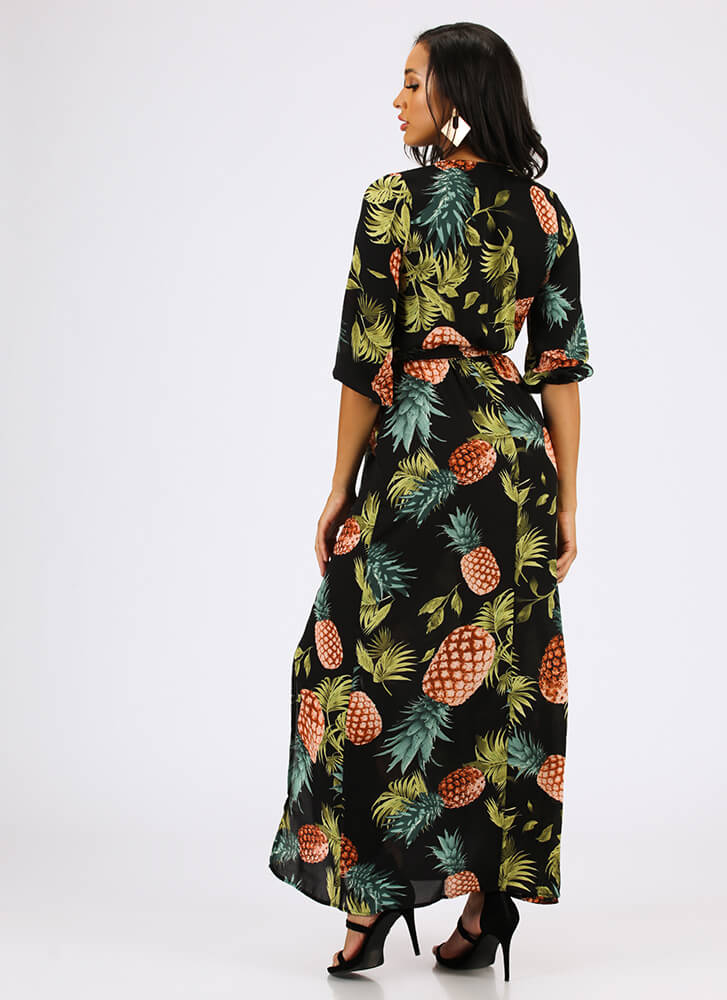 Pretty In Pineapples Tropical Maxi Dress BLACK