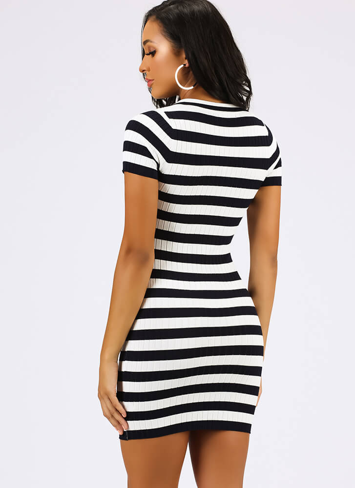 Prep Talk Striped Collared Minidress NAVY