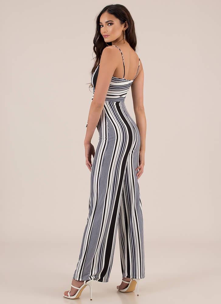 Line And Dine Striped Palazzo Jumpsuit BLACK