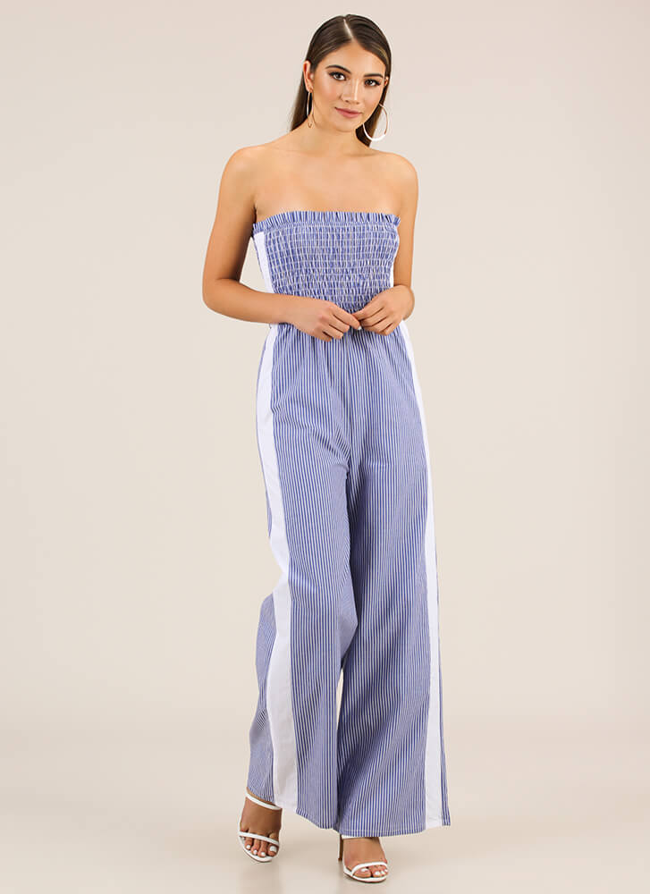 Go Strapless Striped Palazzo Jumpsuit BLUE