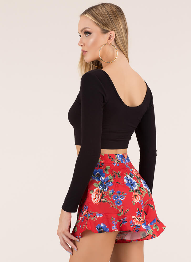 Garden Girl Ruffled Floral Shorts RED (Final Sale)
