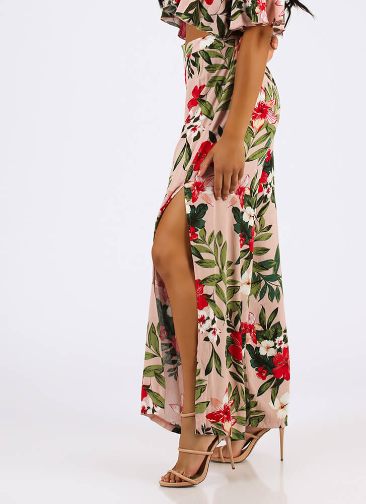 Tropical Garden Floral Palazzo Pants PINK